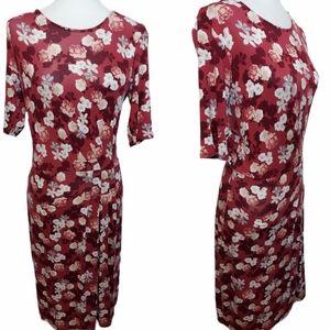 DownEast Floral Midi Dress Red Burgandy Small